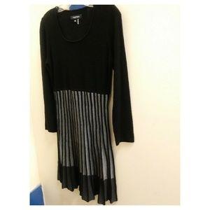 Ellen Tracy pleated sweater dress